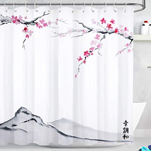 LB Japanisch Duschvorhang Rosen Rote Blume 180x180cm Antischimmel Wasserdicht Polyester Badezimmer Vorhänge Baum Berg Frühlings Landschaft Bad Vorhang mit Haken