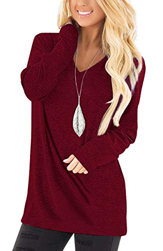 Jescakoo Womens Tops Long Sleeve V Neck T Shirts Casual Loose Fitting Wine L