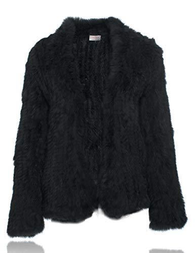 HEIZZI Natürliche Pelz Mantel Gestrickt Kaninchenfell Jacke Lange Ärmel