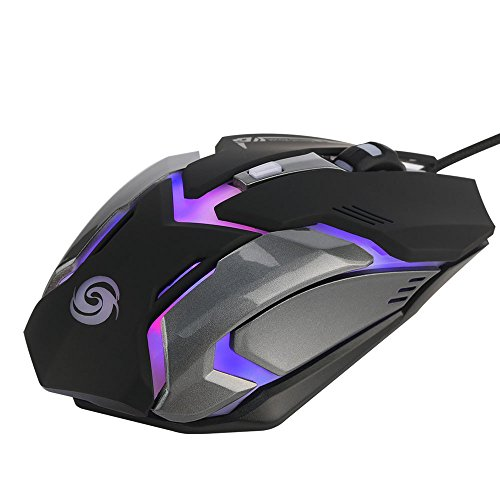 Yowablo USB-Wired Maus Gaming Maus 3200 DPI 6D Knöpfe LED verdrahtete Spiel-Maus für PC Laptop (Schwarz)