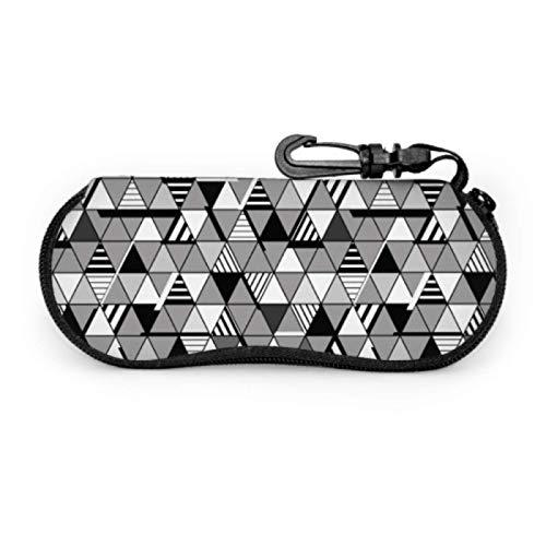 Gses Case - Funda para gafas de sol (neopreno, con mosquetón, diseño geométrico, diseño de triángulos, rayas, funda para gafas