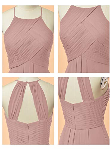 ALICEPUB Halter Chiffon Bridesmaid Dress Short Cocktail Formal Dresses for Women Party, Dusty Rose, US4
