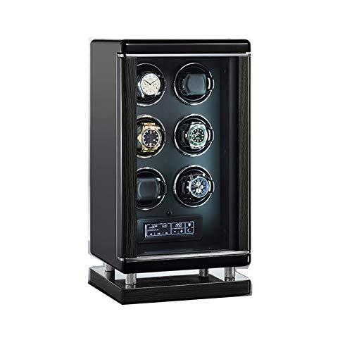 ZCXBHD Devanadera automática de 6 relojes en negro con control remoto Smart Fingerprint LCD con panel táctil Iluminación LED Silent Motor Plush Pillow 6 diferentes ajustes