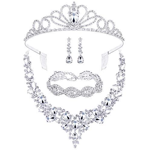 4个妇女女孩,新娘婚礼伴娘党的生日舞会包水钻皇冠皇冠项链手链泪滴耳环首饰套装给礼盒。