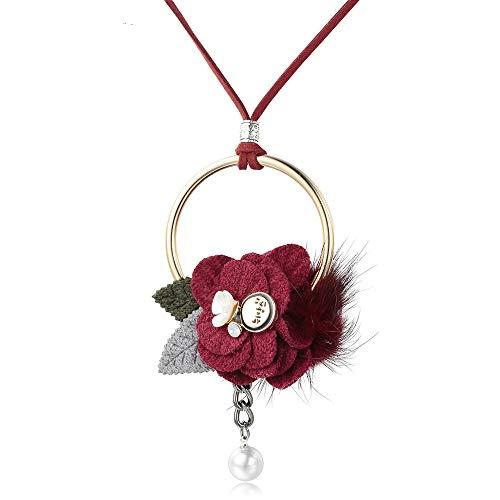 wuxu713 - Gargantilla de Piel para Mujer y Colgantes, de Tela, con diseño de Flor, Collares Largos para Mujer