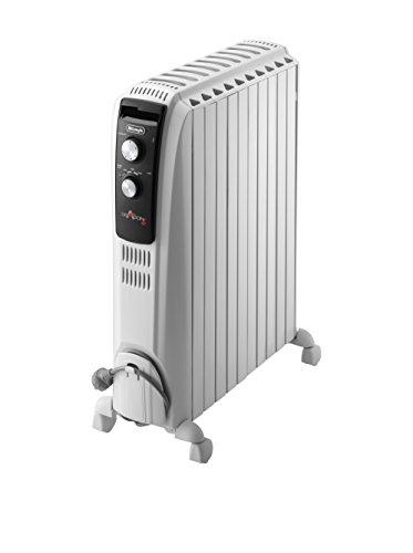 De'longhi Dragon TRD04 1025 - Radiador de aceite, 2500 w, función anti heladas, 3 ajustes potencia, asa y ruedas, almacenamiento cable, blanco