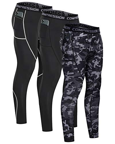Milin Naco Men's Compression Pants Boys Bottoms Tights Cool Dry Athletic Cold Gear [3 Packs] Long Sleeve Sports Weather Dri Baselayer XXXX-Large Camo Black/Black/Athletic Black