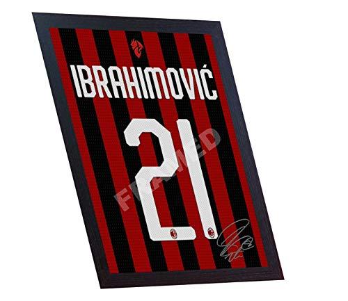 SGH SERVICES New ZLATAN IBRAHIMOVIC Milano Ibrahimović T-Shirt Maglia firmata autografo Calcio Incorniciato 100% COTONE Canvas autografo incorniciato #2