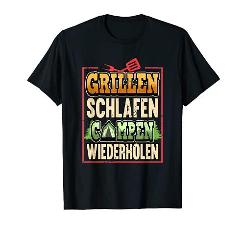 Lustig Grillen Schlafen Campen Zelten Campingplatz Sprüche T-Shirt
