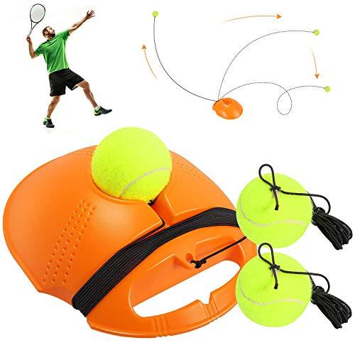 Haojie Tennistrainer, tragbare Tennis-Trainingsausrüstung mit Seil und 3 Rebound-Bällen, Solo-Trainings-Tennis-Trainingswerkzeug für Erwachsene, Kinder, Anfänger (Orange)