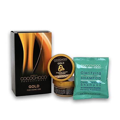 COCOCHOCO Professional Gold Keratin KIT in BOX - Gold Keratin Haarbehandlung (200 ml) und Reinigendes Shampoo (50 ml) - Komplex Keratin Kur für Haarglättung - Für alle Haartypen