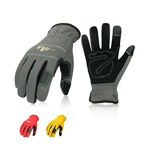 Vgo 3-Pairs Synthetic Leather Work Gloves, Multi-Purpose Light Duty Work Gloves, Breathable & High Dexterity, Touchscreen (Size M, Yellow, Red & Grey, NB7581)