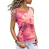 Elesoon Camiseta de verano para mujer con hombros descubiertos y degradados huecos, talla grande, manga corta, suelta, blusa, A-rojo, 44