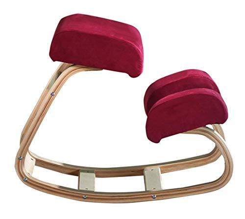 YLCJ Sedia ergonomica in ginocchio Balans raddrizzamento sedia alla moda Swing inginocchiata sedia ortopedica in legno con struttura posturale con buona postura per casa ufficio rosso (x1)