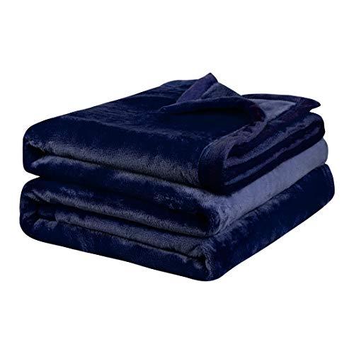PiccoCasa Kuscheldecke Tagesdecke Fleecedecke mit Rand Microfaser Decke Weiche Warme Leichte Decke 330GSM für Bett Sofa usw. Marineblau 150x200cm