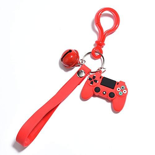 Llavero de moda estéreo de dibujos animados de la consola del juego llavero de la infancia exquisita bolsa de coche colgante divertido llavero pequeño regalo rojo