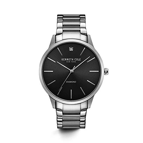 Kenneth Cole New York Men's Diamond Stainless Steel Quartz Watch with Leather Strap, Black, 22 (Model: KC15111003)