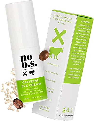 No B.S. Caffeine Eye Cream with Pure Hyaluronic Acid and Plant-Based Squalane Oil, Coffee Bean Eye Cream for Dark Circles and Puffiness, Under Eye Cream