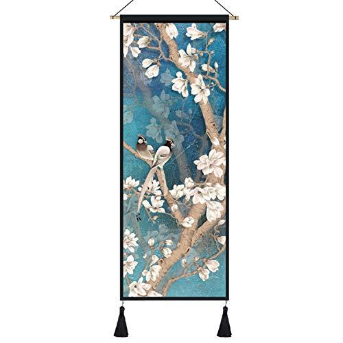 Tapiz Hecho A Mano Chino, De La Flor Y del Pájaro Pintura, Colgante Oriental, Regalos De Cuadro De Arte De Arte Asiático Decoración Tapicería-a 45x120cm(18x47inch)