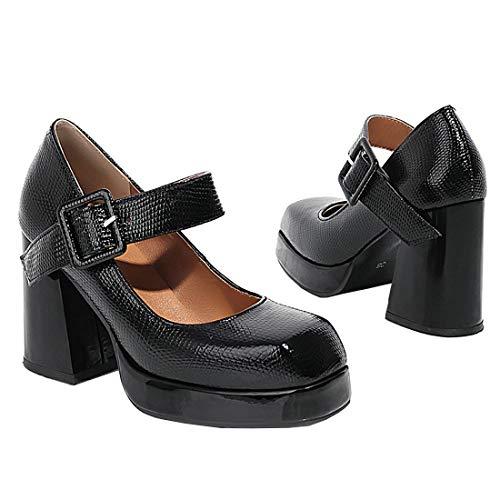 Birdsight Mary Janes Escarpins pour Femmes Vintage Bout Carré Talon Haut et Bloc avec Boucle Couleur Unie Carrière Travail Chaussures (Noir 39)
