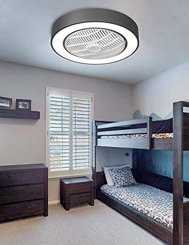 Enclosed Ceiling Fan with Light, Dimmable LED Light and Low Profile Ceiling Fan with Standard Mounting Bracket and Remote Utilizing 2xAAA Battery(not included), 22 inch, Grey