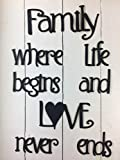 Family Where Life Begins -This is Not Vinyl Decal - 10 Minute Install- Easily Tak-it-Up with Plasti-Tak provided Removable Paintable Art Wall Décor Gift Quotes Sayings for Family Home College Dorm