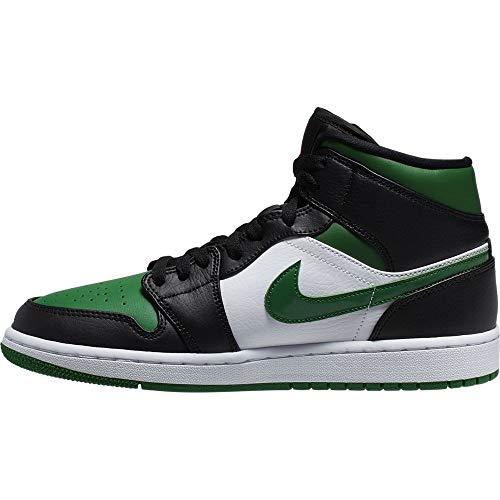 Nike Herren AIR Jordan 1 MID Basketballschuh, Black Pine Green White Gym Red, 44 EU