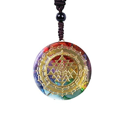 XQK Collar con Colgante De Orgonita, Cristal Natural Ágata Grava Geometría Sagrada Energía Meditación Joyería Mujeres Hombres (Superficie Redonda)