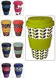 Happy Earth LEAVES (Riutilizzabile tazza da caffè Eco-Friendly 450ml, realizzata con fibra di bambù naturale biologica, può essere utilizzata come tazza da viaggio o tazza da caffè per uso domestico)