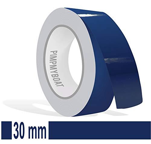 Siviwonder Zierstreifen dunkelblau Glanz in 30 mm Breite und 10 m Länge Folie Aufkleber für Auto Boot Jetski Modellbau Klebeband Dekorstreifen blau