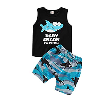 Baby Boy Girl Clothes Shark Sleeveless Outfits Set Tops and Short Pants (Blue, 18-24 Months)