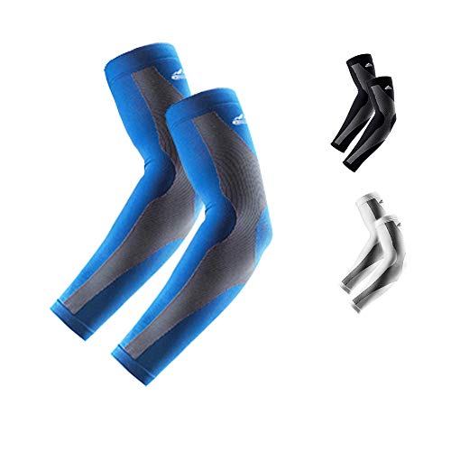 Sports Arm Sleeves, UV Protection Cooling Sleeves for Men Women Compression Arm Cover/Shield for Basketball, Running, Cycling, Golf, Volleyball, Baseball, Football & Other Outdoor Sports (blue)