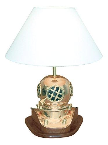 Lampe - Taucherhelm Kupfer, Messing & Holz - perfekt für die maritime Dekoration