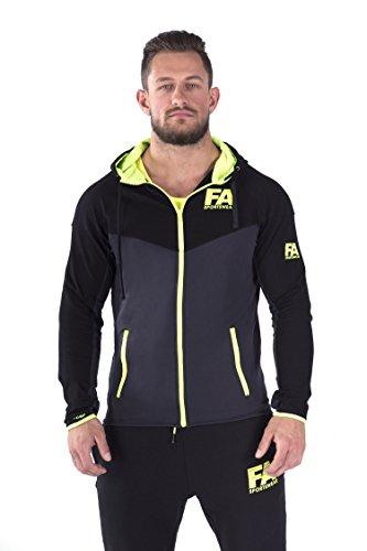 FA Sportswear Hoodie Jacket Men Basic Darkgrey NeonFlash - M - Trainingsjacke - Kapuzenjacke