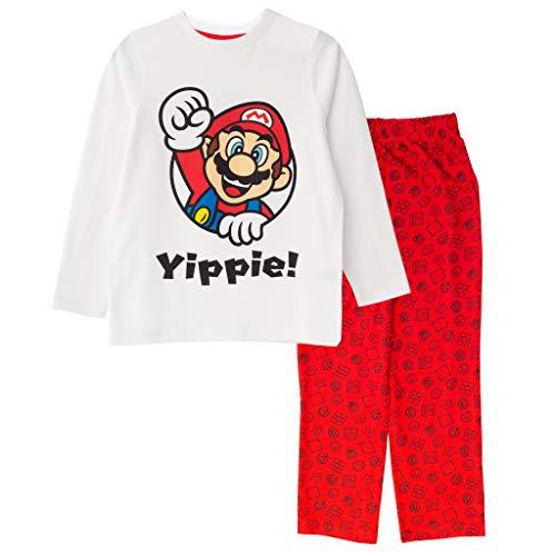Super Mario Hurra Jungen Lange Pyjamas Set Weiß Rot 146 | 1980 Klassische...