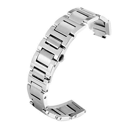 TSYGHP Correa de acero inoxidable de 9 mm, 11 mm, 12 mm, tipo de botón de cierre oculto, repuesto para reloj de pulsera, correa de reloj, correa de reloj (color: 11 mm, tamaño: plata)