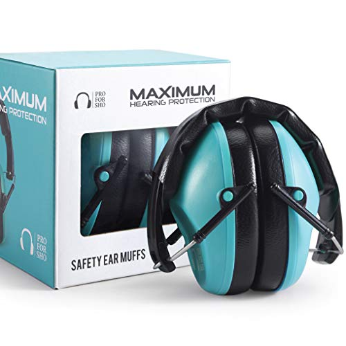 Pro For Sho 34dB Shooting Ear Protection - Special Designed Ear Muffs Lighter Weight & Maximum Hearing Protection - Standard Size, Teal