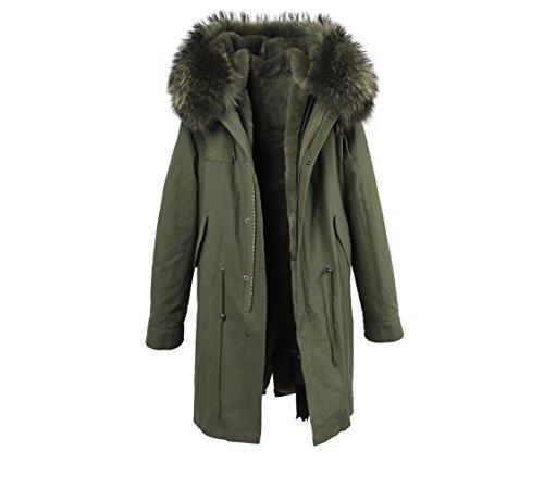Lea Marie Damen Parka XXL Kragen aus 100% ECHTPELZ ECHT Fell Jacke Mantel Khaki 8 Farben (S / 34, Khaki)