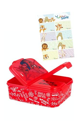 Spider-Man Lunchdoos Brooddoos Kinderlunchbox met 3 afzonderlijk afsluitbare compartimenten + naamstickers voor kinderen