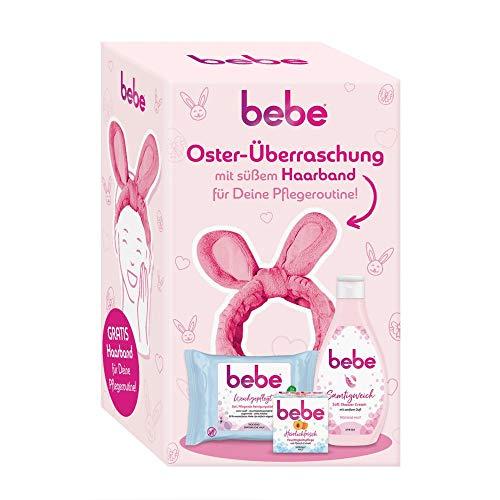 Bebe Oster-Überraschung mit süßem Haarband für deine Pflegeroutine, 3-teiliges Geschenkset für Frauen und Mädchen, enthält5in1 Pflegende Reinigungstücher, Feuchtigkeitspflege und Soft Shower Cream