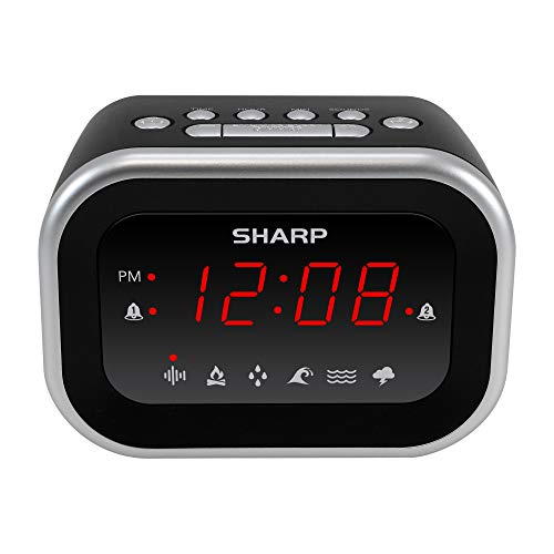 SHARP Dual Alarm Clock with Sound Machine with 6 Relaxing Sounds: White Noise, Campfire, Rain, Ocean, Brook, Thunderstorm, Easy to Use, Red LED Display