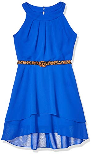 Amy Byer Girls' Circle Neck High-Low Dress, neon Cobalt, 16