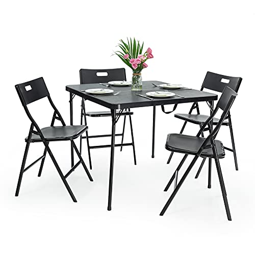 IKAYAA Juego de mesa y sillas plegables de camping de 5 piezas, 1 + 4 muebles de jardín plegables que ahorran espacio, para terraza, balcón, césped, picnic, barbacoas