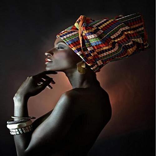 Schöne schwarze Frau Ölgemälde Druck auf Leinwand Porträt Kunst Poster und Wandbild 50x75cm