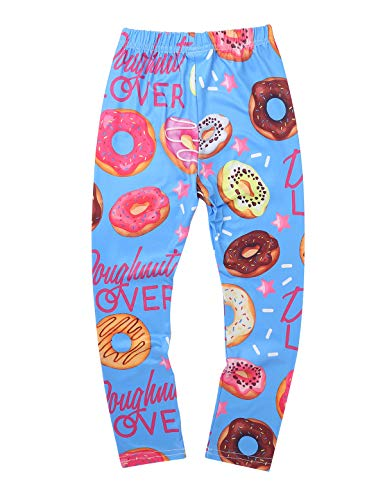 YiZYiF Pantalones Largos Leggins Niñas Leggings Básicos Medias Cintura Elástica Pantalones Estampados para Vestido Faldas Niñas 3-12 Años Azul Rosquillas 9-10 Años