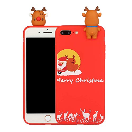 LAXIN Case for iPhone 7 Plus Silicone 3D Cartoon Christmas Santa Claus Back Cover, Kids Girls Cool Cute Funny TPU Slim Fit Rubber Bumper Protective Shockproof Case for Apple iPhone 8 Plus 5.5'