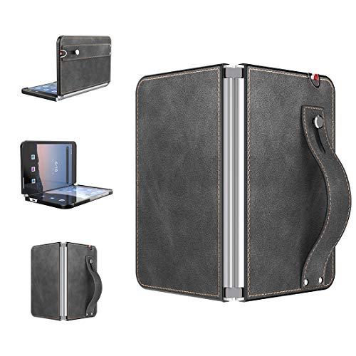 Foluu für Microsoft Surface Duo Hülle, Surface Duo Leder Hülle 2020, [Slim und Lightweight] PU Leder Back Cover Hard PC Halter mit Handschlaufe Schutzhülle für Microsoft Surface Duo (Schwarz)