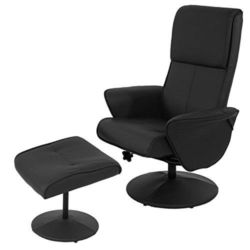 Mendler Relaxsessel Helsinki, Fernsehsessel Relaxliege TV-Sessel mit Hocker ~ Kunstleder, schwarz