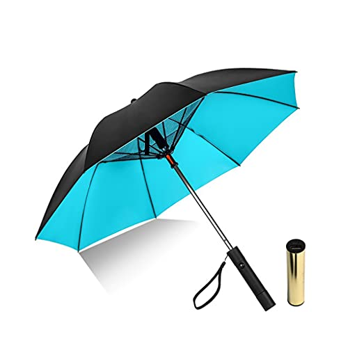 Anti-UV Sonnenschirm Golf Regenschirme mit Ventilator, Sommersonnenschutz Kühlung Ventilator Regenschirm, Multifunktions-8-Knochen-Handbuch Regenschirm, Wiederaufladbarer Outdoor-Reiseschir,B