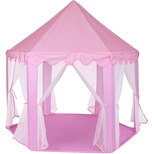 Zerone Princess House Castle Play Tent Pink, Girls Large Private Space Playhouse Kids Castle Play Tent with Star Lights for Children Indoor and Outdoor Games